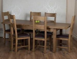 Esszimmer Eiche rustikal, 6 Stühle und ausziehbarer Tisch in