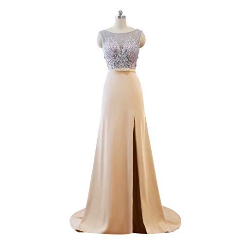 Lange Perlen der Ausschnitt Split V Frauen 12 Abendkleid Formale Ballkleider Hohe Spitze fwCqrf8