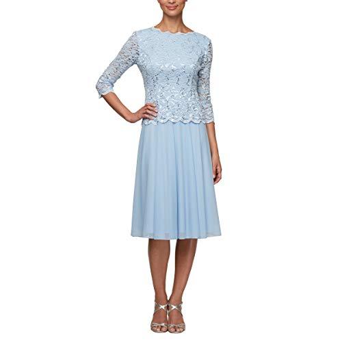(Alex Evenings Women's Sequin Lace Mock Dress (Petite and Regular), Periwinkle, 10P)