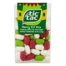 Tic Tac Merry Elf Mix - Cranberry, White Lime, Green Apple (1 oz) -