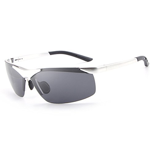 HDCRAFTER Vintage Polarized Driving UV Sunglasses for Men Sports Golf Goggles E012 (E806 Silver, - Sunglasses Clip Spring On Loaded