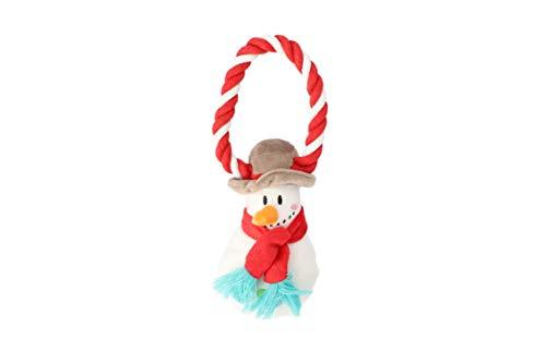 Dingo Plüsch Hundespielzeug Schneemann 18 cm mit einem Seil, Geschenk für einen Hund Weihnachten Spielzeug mit einem…