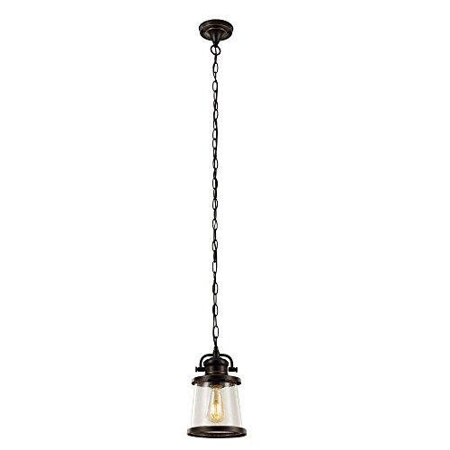 (Globe Electric 44231 Charlie 1-Light Outdoor Pendant, Oil Rubbed Bronze Finish with Clear Seeded Glass Shade, Vintage LED Bulb Included)