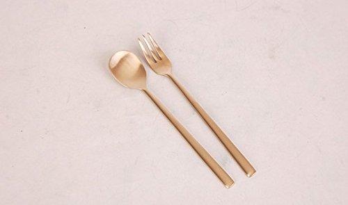 超熱 Korean spoons Traditional Flatwareモダンゴールドカラー真鍮Tea Spoon + Fork Set B078W4642N Great forギフト 14cm=5.5