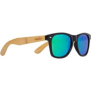 WOODIES Bamboo Wood Sunglasses with Green Mirror Lens