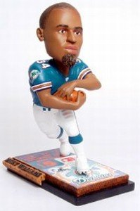 Forever Collectibles NFL Miami Dolphins Mens Miami Dolphins Ricky Williams Ticket Base Bobblehead, Team Colors One Size -