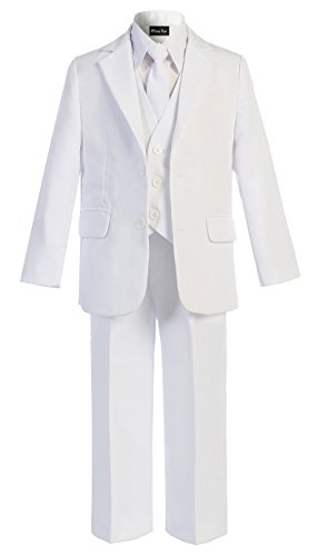 (OLIVIA KOO Boys Solid 5-Piece Formal Suit Set With Matching Neck Tie,White,8)