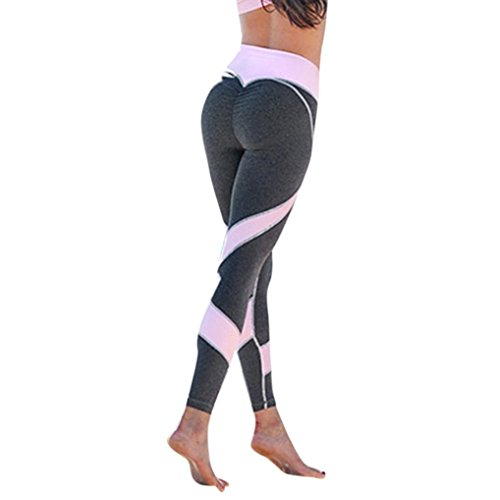 Womens Skinny High Waist Workout Fitness Sports Gym Running Yoga Leggings Athletic Pants (M, Gray) ()