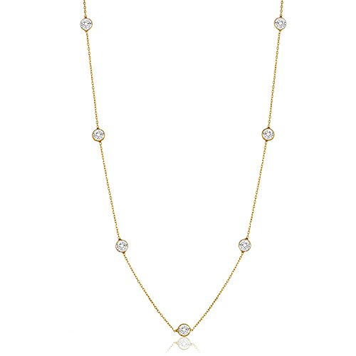 NYC Sterling Women Gold Plated Sterling Silver 3MM Round Cubic Zirconia Station Necklace 16