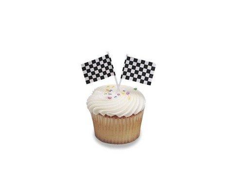 Checkered Flag Racing Cupcake Picks -