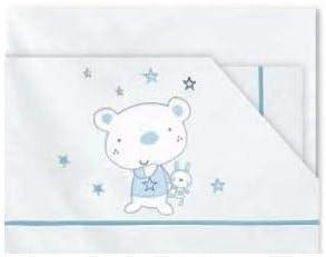 color azul S/ábanas franela maxi Pirulos Osito Stars