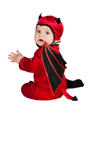 Devil Boys Costume Toddler (Rubie's Costume Black Wing Devil Ez-On Romper Costume, Red,)