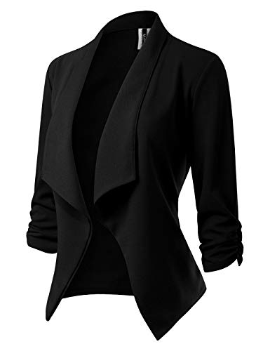 MixMatchy Women's [Made in USA] Classic 3/4 Gathered Sleeve Open Front Blazer Jacket (S-3XL) Black -