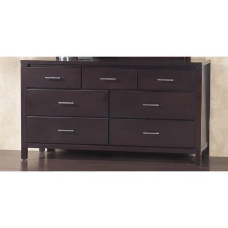 Ash Stained Finish (Sturdy 7-Drawer Dresser, Tropical Mahogany Solid Wood Construction Brushed Chrome Bar, Dark Wood Case, Full Extension Ball-Bearing Drawer Glides, Espresso Finish + Expert Guide by JaxTerrific)