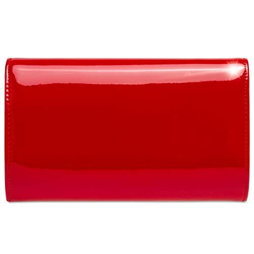 Caspar Donna In Elegante Pochette Rosso Con Catenella Vernice Ta515 f1wfAaqO