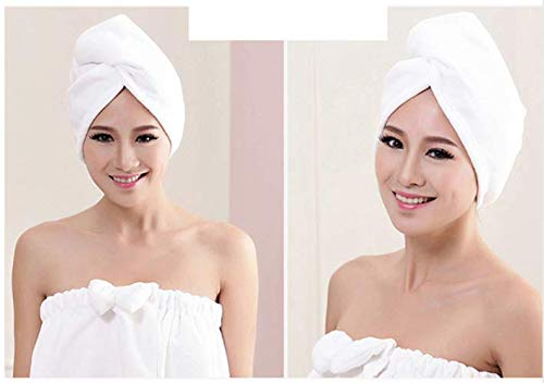 Lady Turban microfiber fabric thickening dry hair Towel super absorbent quick-drying hair Shower Towel Shower cap (White)