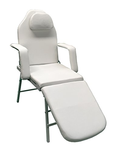 3 Fold Portable Tattoo Facial Bed Beauty Salon Massage Table Chair w/Free Carrying Case (WHITE)