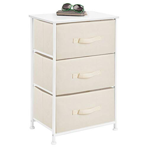 mDesign Vertical Dresser Storage Tower - Sturdy Steel Frame, Wood Top, Easy Pull Fabric Bins - Organizer Unit for Bedroom, Hallway, Entryway, Closets - Textured Print - 3 Drawers - Cream/White