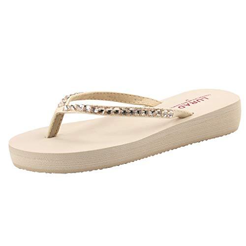 - YKARITIANNA Women's Summer Casual Rhinestone with Non-Slip Beach Flip Flops Shoes 2019 Summer Beige