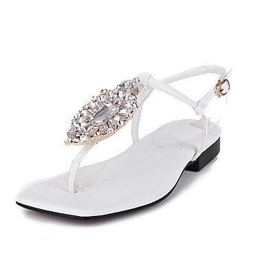 LvYuan Tacón Plano-Zapatos del club-Sandalias-Oficina y Trabajo Vestido Fiesta y Noche-PU-Negro Rosa Blanco White
