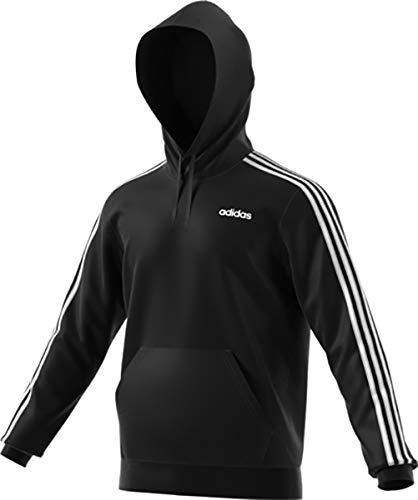 adidas Essentials Men's 3-Stripes Hoodie, Black/White, Small by adidas