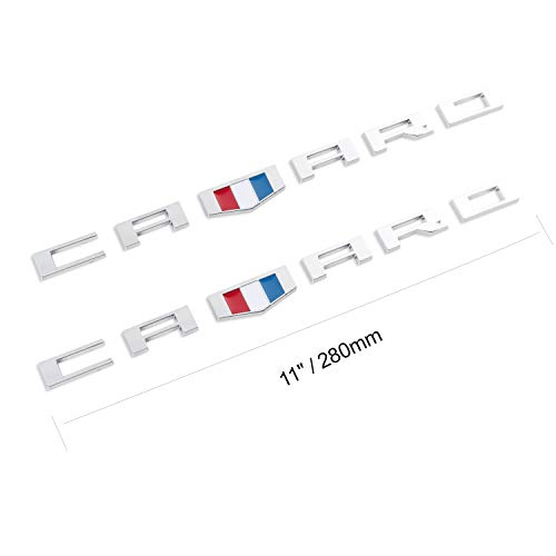 2Pack Emblems Badge for Chevy CAMARO RS SS ZL1 Z28 Decals (Silver)