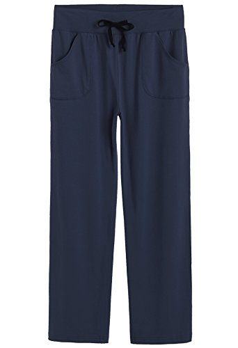 Latuza Women's Cotton Lounge Pants, Navy, Medium