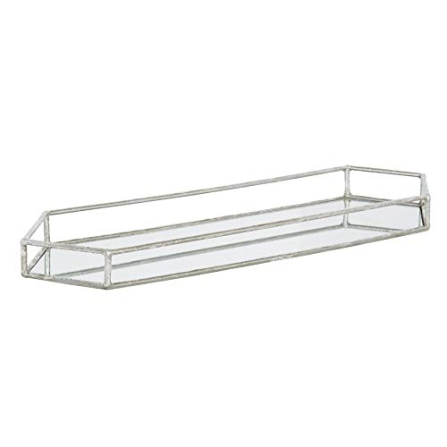 Kate and Laurel Felicia Trough Mirrored Tray, 26x8, Silver (Long Decorative Mirrors)