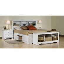 Prepac White Laminate Queen Mate's Platform Storage Bed with 6-Drawer