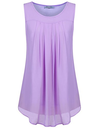 Kancystore Sleeveless Tunic Tops for Women, Casual Pleated A Line Double Layers Chiffon Blouses T Shirts Purple