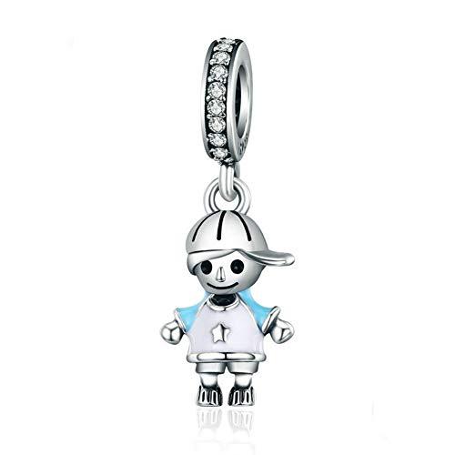 Baby Girl Boy Charm Beads 925 Sterling Silver Sister Brother Bracelet Dangle Beads Fit DIY Bracelet (Boy)