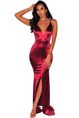 (EZON-CH Women's Emerald Wine V Neck Crisscross Slit Mermaid Evening Dress )