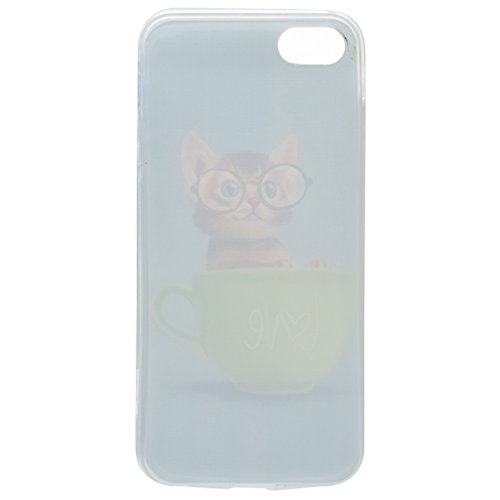 Coque iPhone SE 5 / 5S, IJIA Ultra-mince Transparent Lunettes Chat Tasse Vert TPU Doux Silicone Bumper Case Cover Shell Housse Etui pour Apple iPhone SE 5 / 5S + 24K Or Autocollant