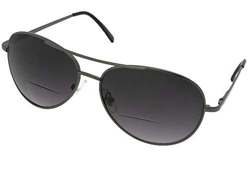 Style B15 Medium Aviator Bifocal Sunglasses With Sunglass Rage Pouch (Pewter Frame-Gray Lenses, 1.50) ()