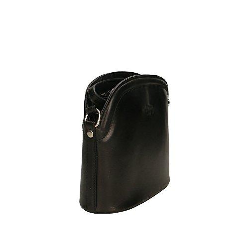 Negro genuino in en cuero Made Aren Cm Italy 23x20x9 hombro de bolsa Mujer 1SAqw7f
