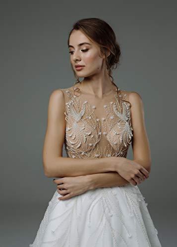- Avon, wedding dress, A-line, milky white, handmade embroidery