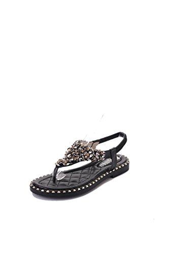 TMKOO& 2017 sandalias del verano piezas de Nueva Inglaterra clip de dedo del pie de diamantes de lujo sandalias planas elásticas de comercio exterior Negro