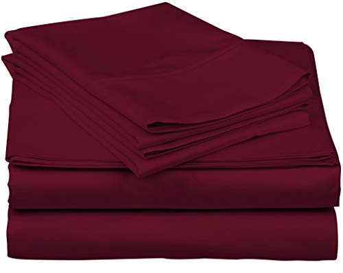 True Luxury 1000-Thread-Count 100% Egyptian Cotton Bed Sheets, 4-Pc King Burgundy Sheet Set, Single Ply Long-Staple Yarns, Sateen Weave, Fits Mattress Upto 18'' Deep Pocket