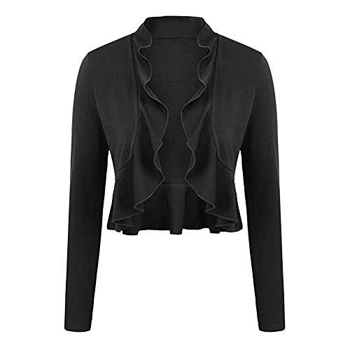 Inverlee Women's Short Cardigan Long Sleeve Casual Ruffled Light Coat Outwear Coat -
