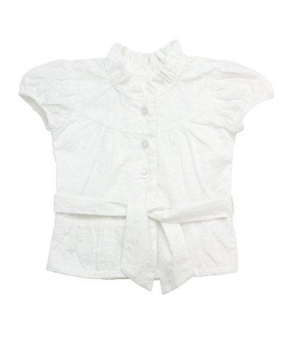 RuffleButts Infant / Toddler Girls Swiss Dot Short Sleeve Shirt w/ Belt - White Swiss Dot - 3-6m