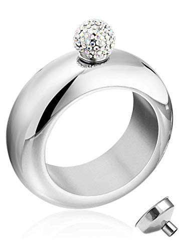 No.1 Bangle Bracelet Flask With Sparkling Rhinestone Lid, Perfect For Liquor And Wine, Great Gift For Every Woman, Glisten And Secret, 304 Stainless Steel, Shiny And Classy Silver (3.5 oz) (Sparkling Diamonds Bracelet)