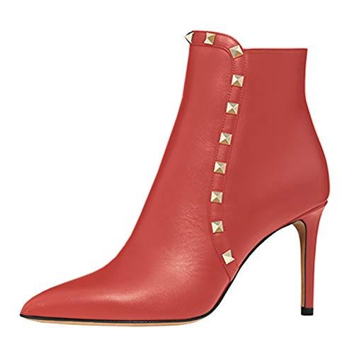 Chaussures Hauts Femmes La Rivets Eks Talons Bout Rouge Bottines Pour Goujons Pointu Cheville 0OwqBIn5