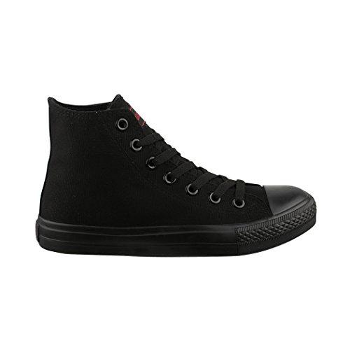 für Elara Sneaker Turnschuh All Unisex Sportschuhe Damen Top black High Herren Textil Schuhe fOfBqxpUn