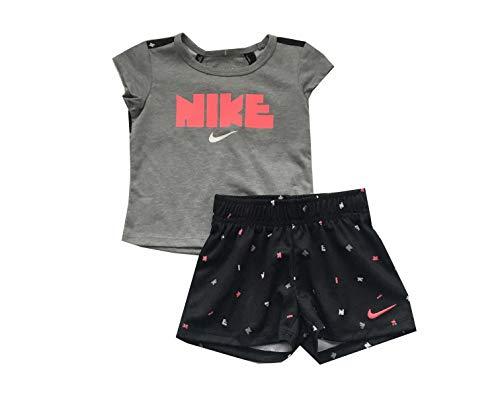 (Nike Infant Girls T-Shirt and Shorts Set Black/Hot Pink 12 Months)