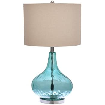 Catalina 18578 000 25 1 2 Inch Teal Glass Gourd Table Lamp With Beige Linen Drum Shade Brushed Nickel Base