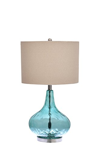Mediterranean Set Table - Catalina Lighting 18578-000 Transitional 3-Way Glass Gourd Table Lamp with Linen Shade, 25.5