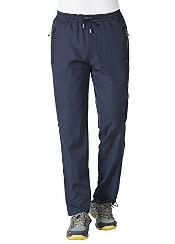 Rdruko Men's Sweatpants with Zipper Pockets Open Bottom Athletic Pants for Jogging, Workout, Gym, Running, Training(Navy Blue, US XL)