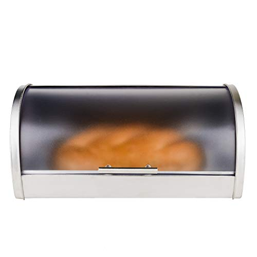 Galashield Bread Box Stainless Steel with Frosted Acrylic Roll Top ()