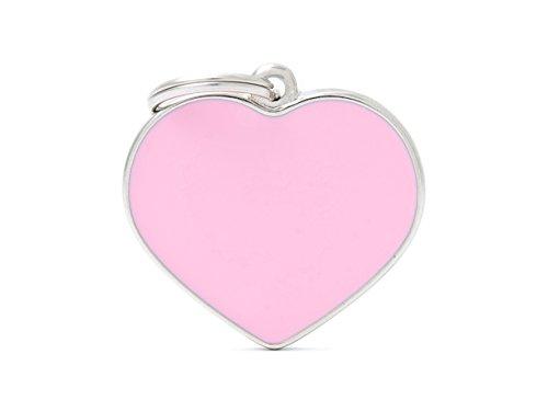 Médaille MyFamily Grand Coeur Rose plaque chien gravure gratuite coutume chat
