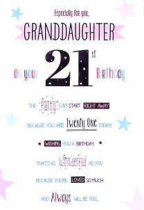 Happy 21st Birthday Granddaughter Card